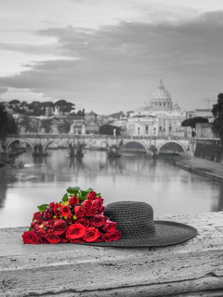 Hat and bunch of roses on bridge with Basilica di San Pietro in Vatican, Rome, Italy Frank, Assaf 103867