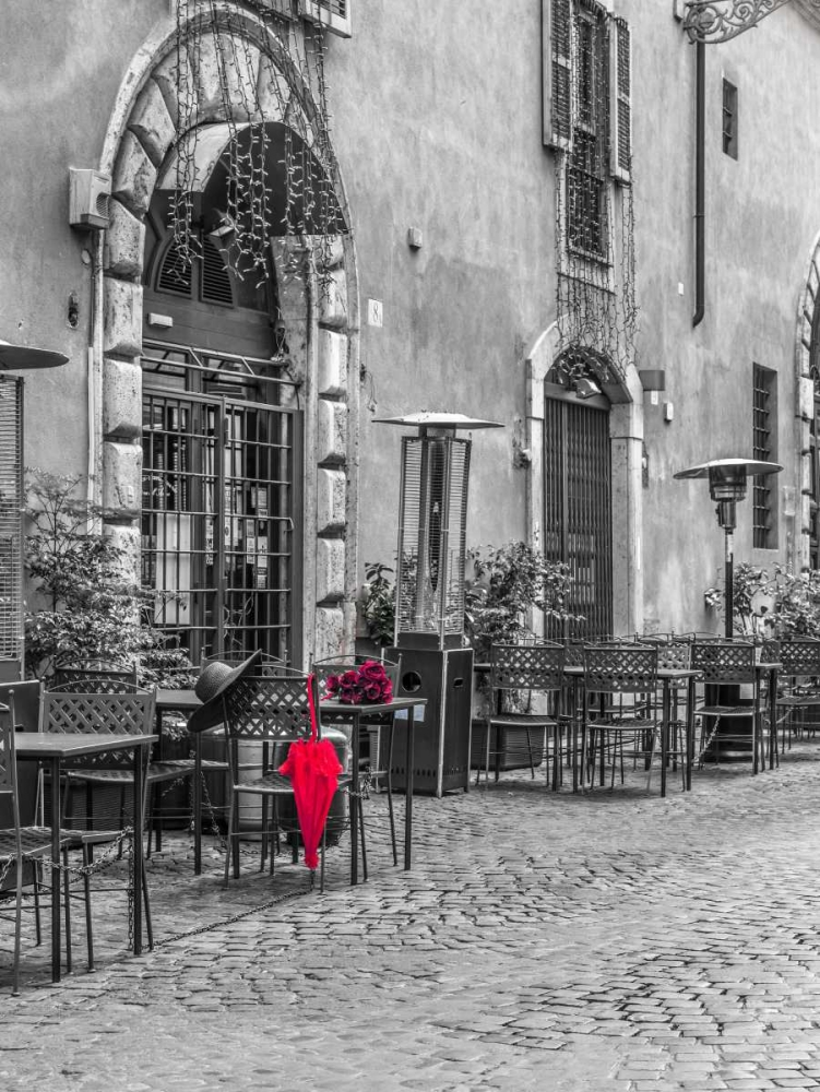 Red umbrella with female hat and bunch of roses on cafe table, Rome, Italy Frank, Assaf 103870