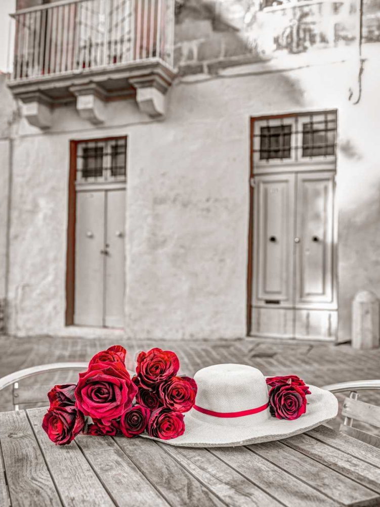 Female hat with bunch of roses on cafe table, Malta Frank, Assaf 103959