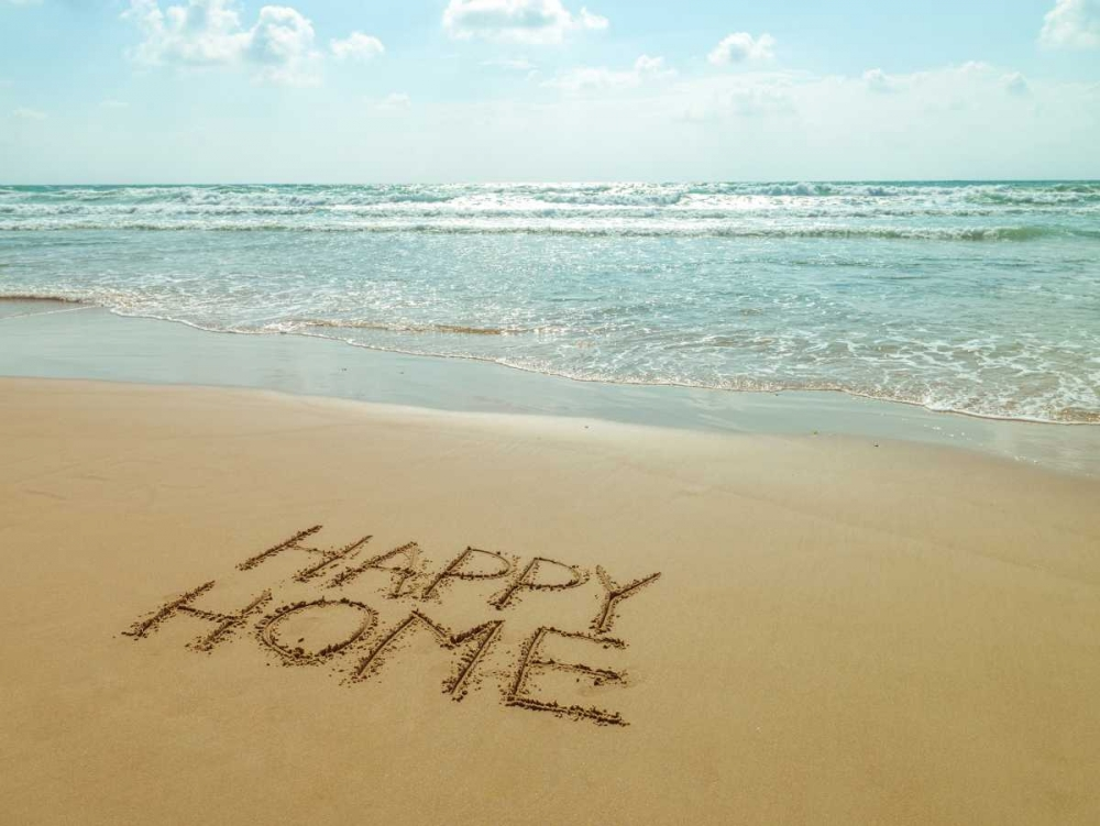Happy Home written in sand on the beach Frank, Assaf 103980