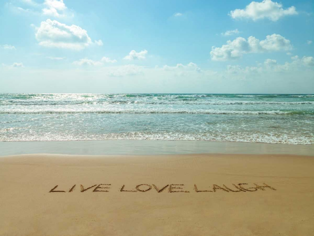 Live Love Laugh written in sand - Beach writing Frank, Assaf 103981