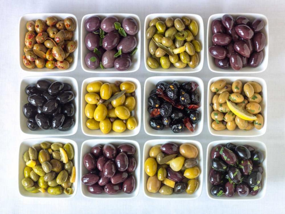 Varieties of Olives in bowls on white background Frank, Assaf 104157
