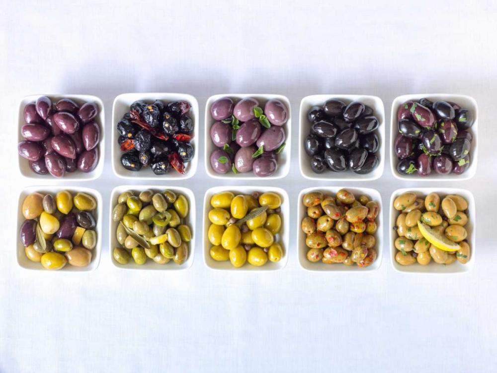 Varieties of Olives in bowls on white background Frank, Assaf 104159