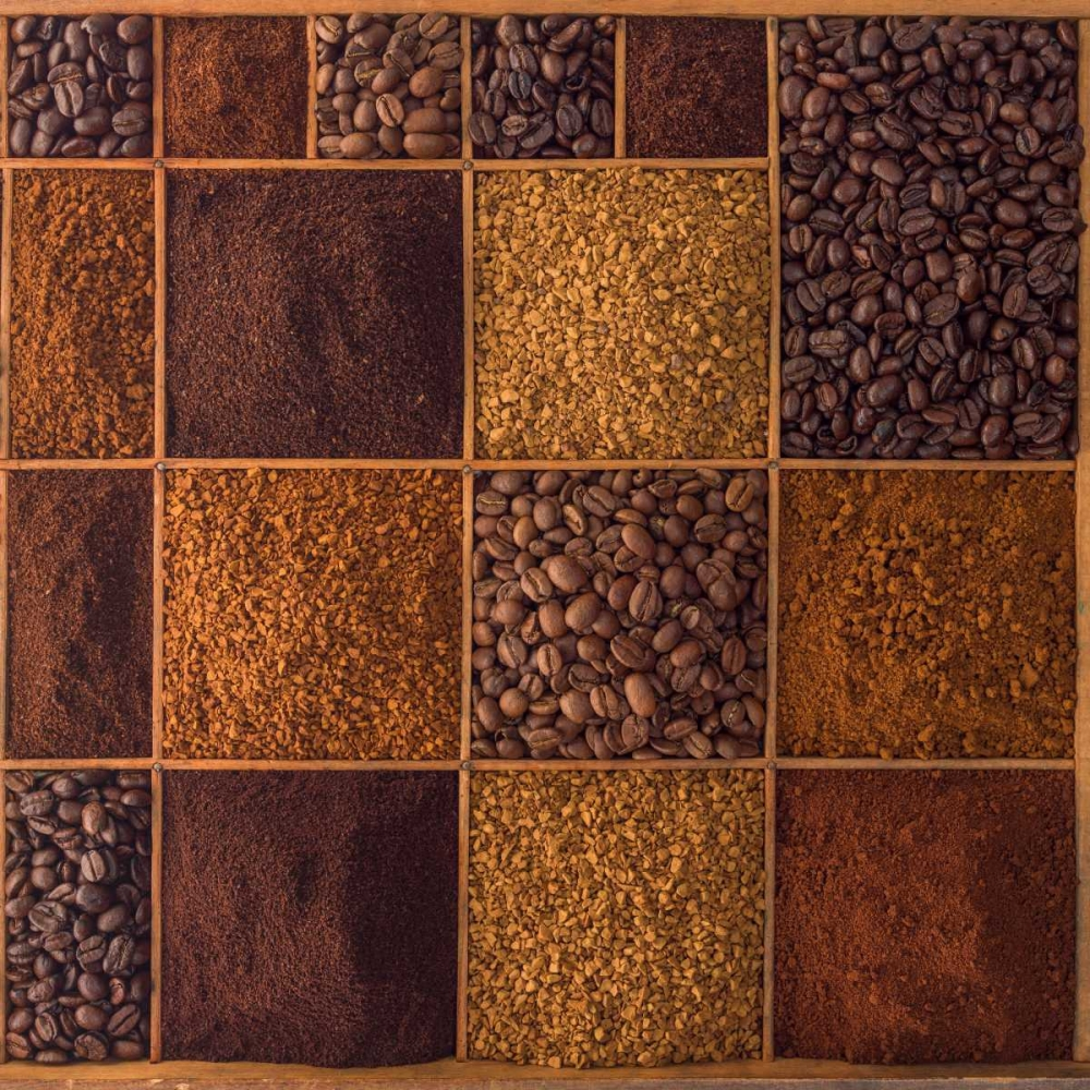 Variety of coffee beans in a wooden box Frank, Assaf 104384