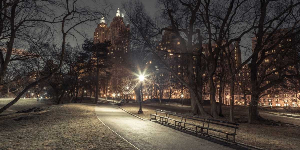 Path in cental park at night, winter, snow, New York. Frank, Assaf 158647