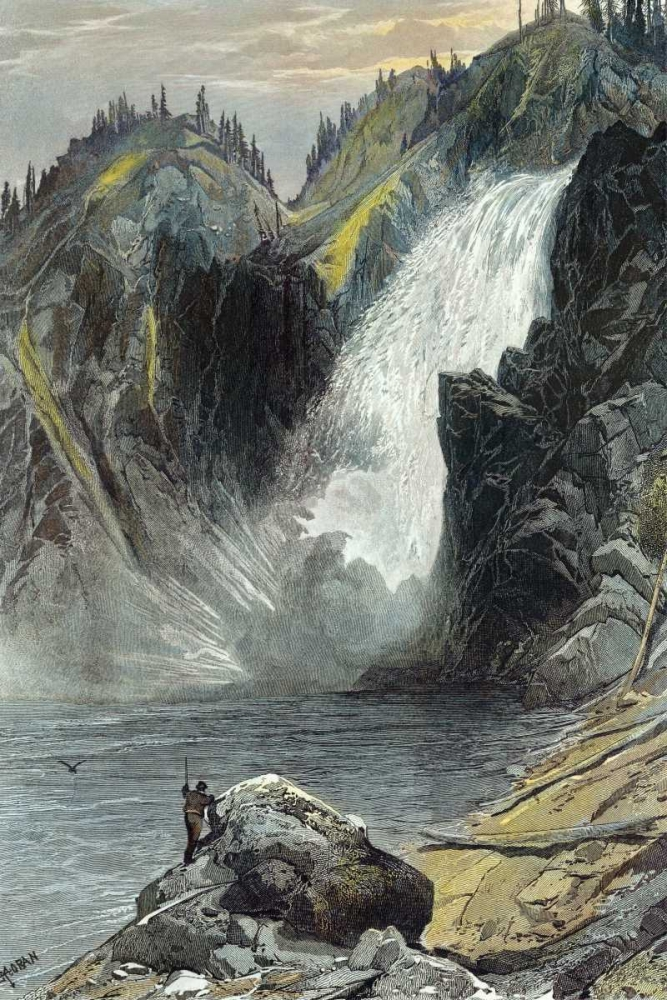 The Upper Yellowstone Falls (A Colored Engraving) Moran, Thomas 93876