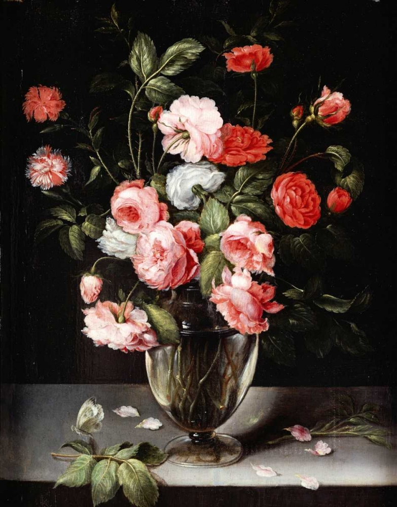 Roses and Carnations In a Glass Vase On a Stone Ledge Brueghel, Ambrosius 88783