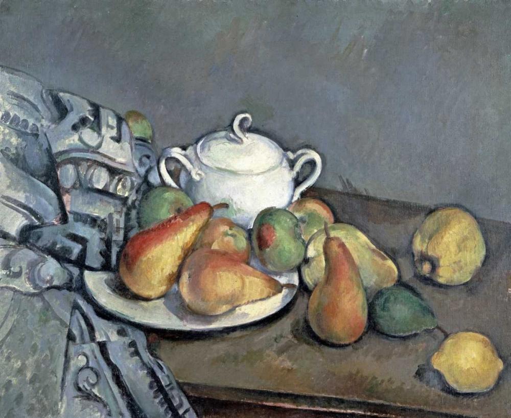 Sugar Bowl, Pears and Curtain Cezanne, Paul 88802