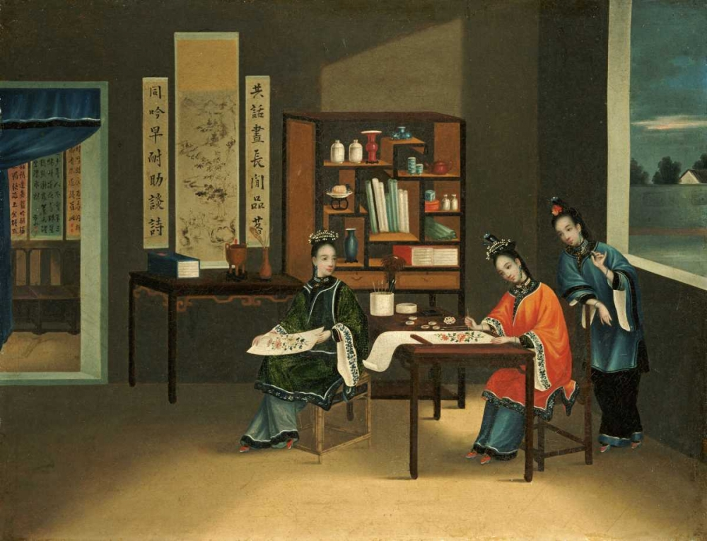 An Interior With a Woman Painting Flowers Chinese School 88813