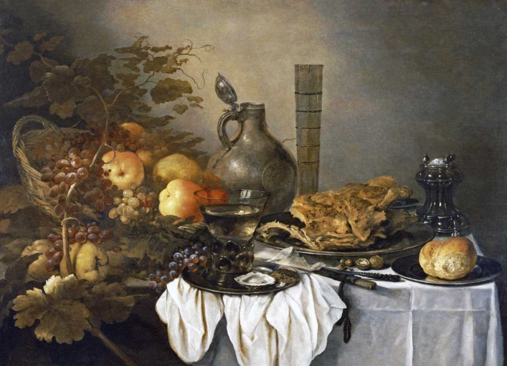 A Still Life With a Roemer, Oysters, a Roll and Meat Claesz, Pieter 88822
