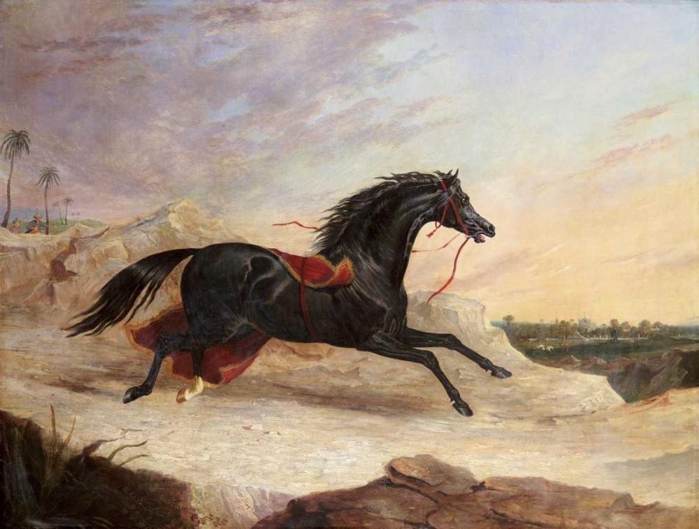 Arabs Chasing a Loose Arab Horse In An Eastern Landscape Herring, John Frederick 88928