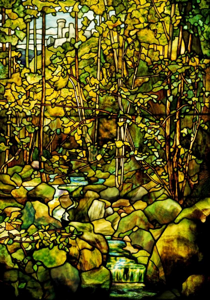 A Leaded Glass Window of a Woodland Scene Tiffany Studios 89241