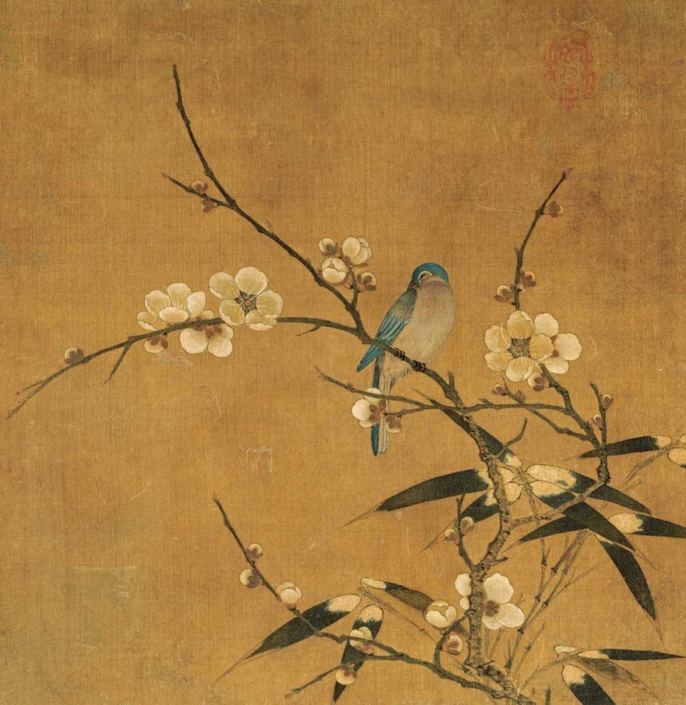 Blue Bird On a Plum Branch With Bamboo Unknown 89266