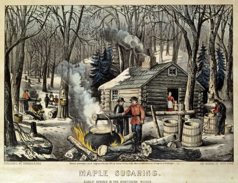 Maple Sugaring - Early Spring In The Northern Woods Currier and Ives 89480