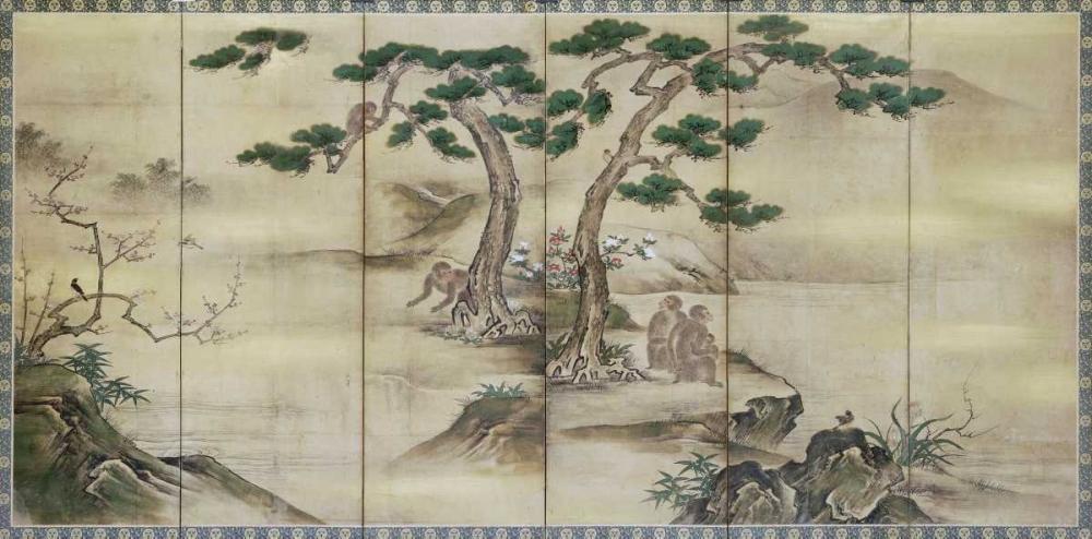 Birds, Flowers and Monkeys Six-Panel Screen Kano School 89710