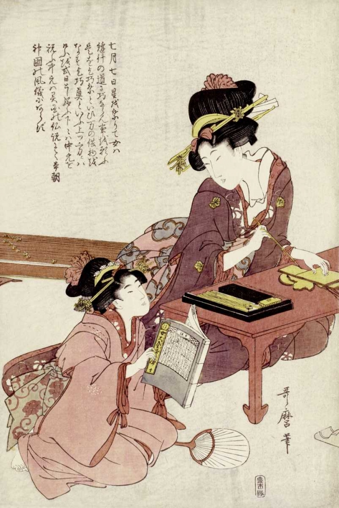 A Young Woman Seated Utamaro, Kitagawa 90092