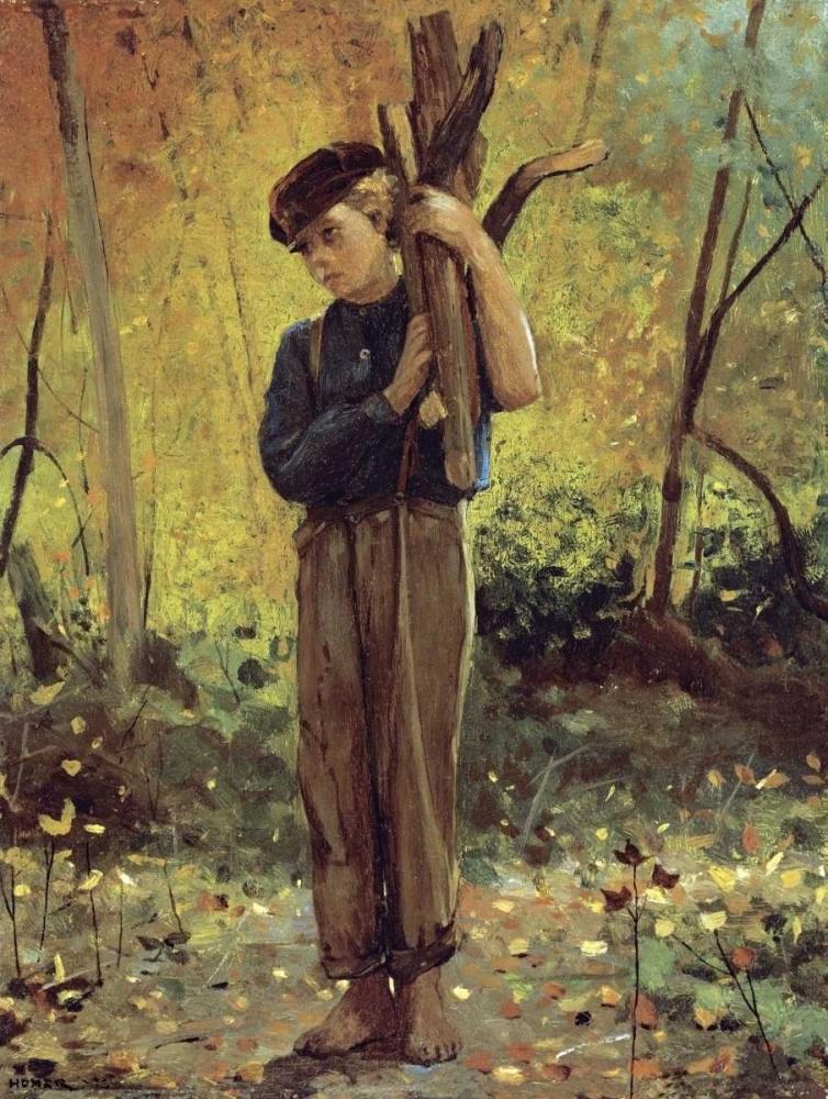 Boy Holding Logs Homer, Winslow 90424