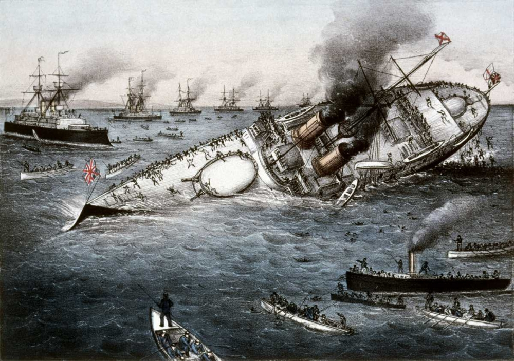 Sinking of The Battleship Victoria Off Tripoli,Syria, June 22, 1893 Currier and Ives 90894