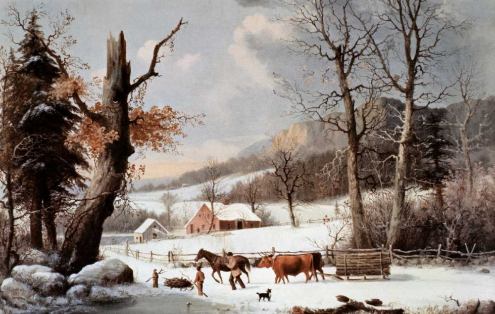 Winter In The Country - Homeward From The Wood-Lot Currier and Ives 90903