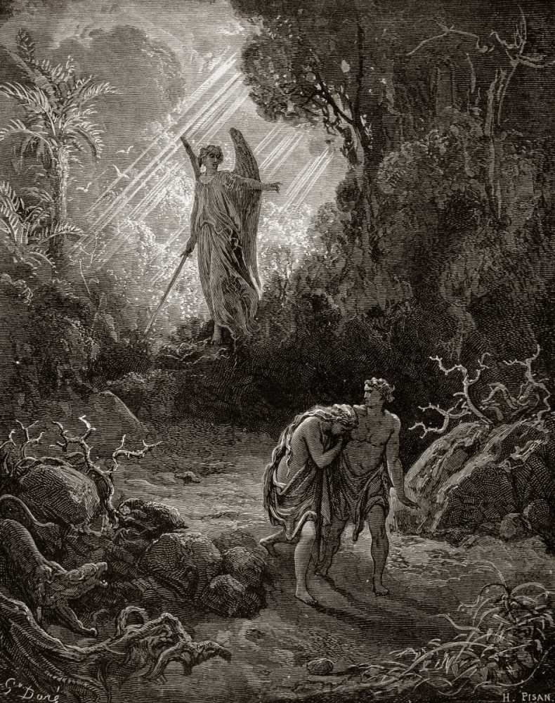 Adam and Eve - The Expulsion From The Garden - from Miltons Paradise Lost Dore, Gustave 90983