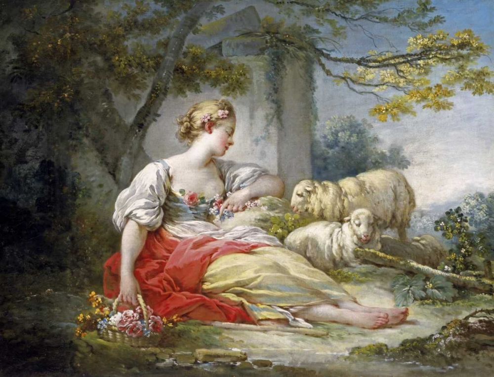 Shepherdess Seated with Sheep and a Basket of Flowers Near a Ruin in a Wooded Landscape Fragonard, Jean Honore 91034