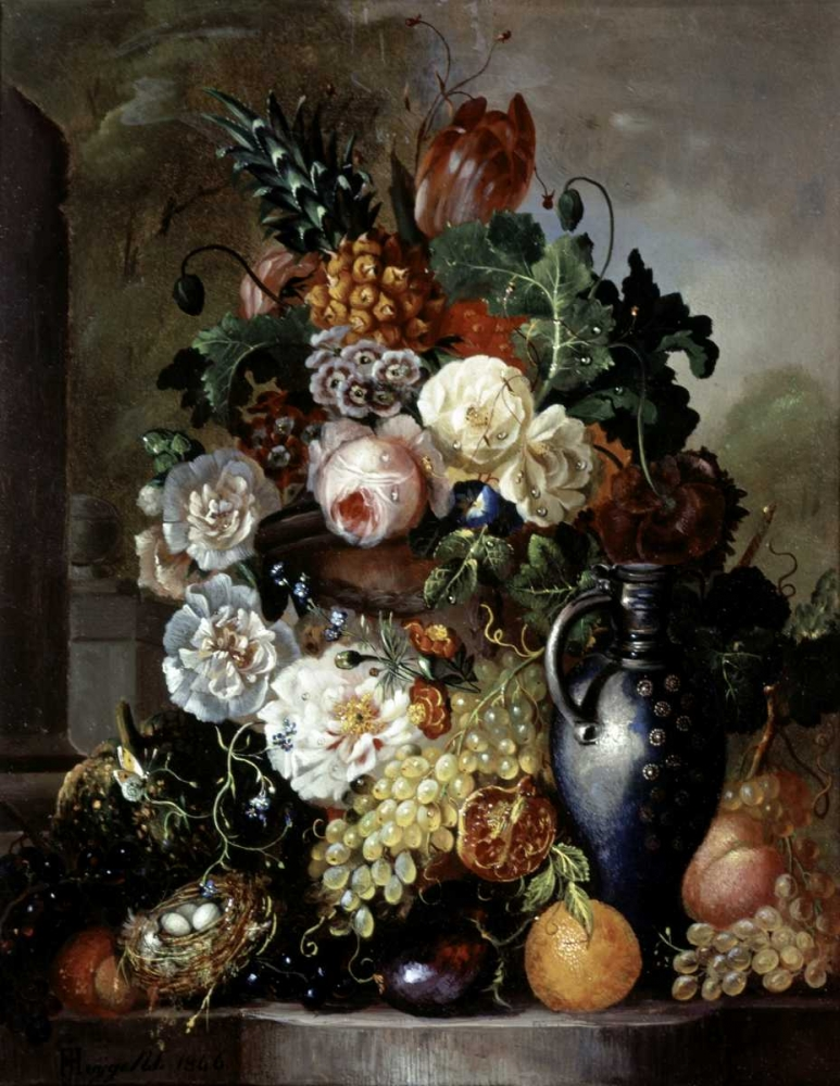 Still Life of Fruit and Flowers Hyugens, Francois Joseph 91184