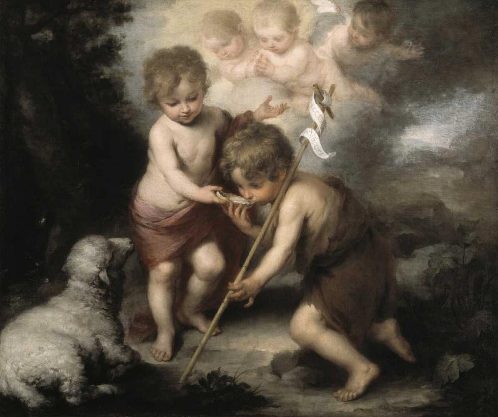 Jesus and John The Baptist: Children W/ Shell Murillo, Bartolome Esteban 91408