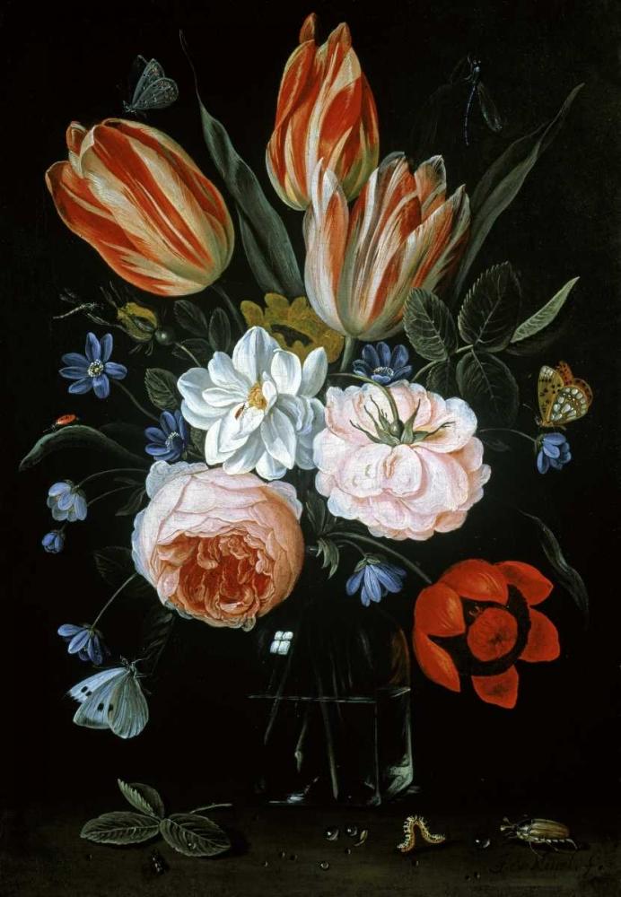 Tulips and Roses In A Glass Vase Van Kessel, Jan 92160