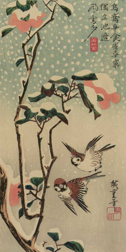 Sparrows and camellias in snow., 1840 Hiroshige, Ando 95968