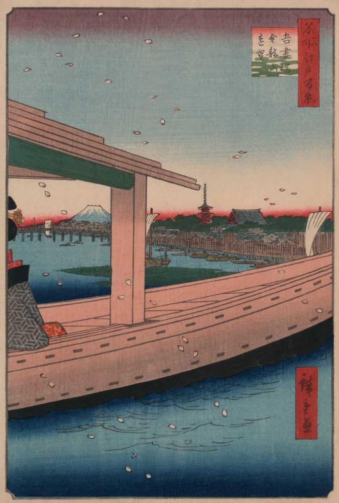 Distant view of Kinryuzan Temple and Azuma Bridge (Azumabashi kinryuzan enbo), 1857 Hiroshige, Ando 95986