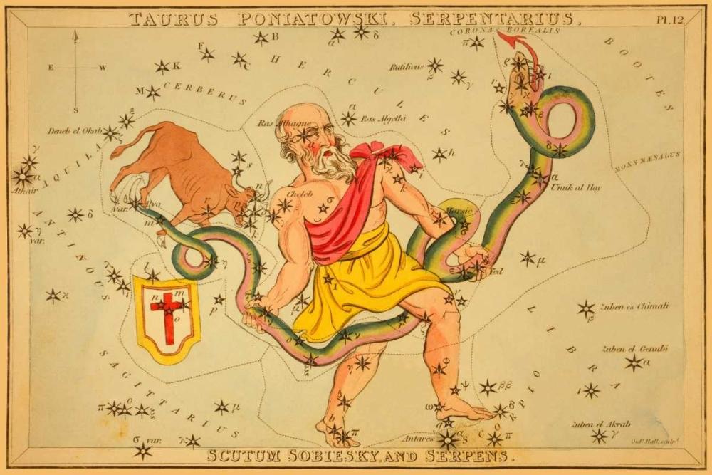 Taurus Poniatowski, Serpentarius, Scutum Sobiesky, and Serpens, 1825 Aspin, Jehoshaphat 96291