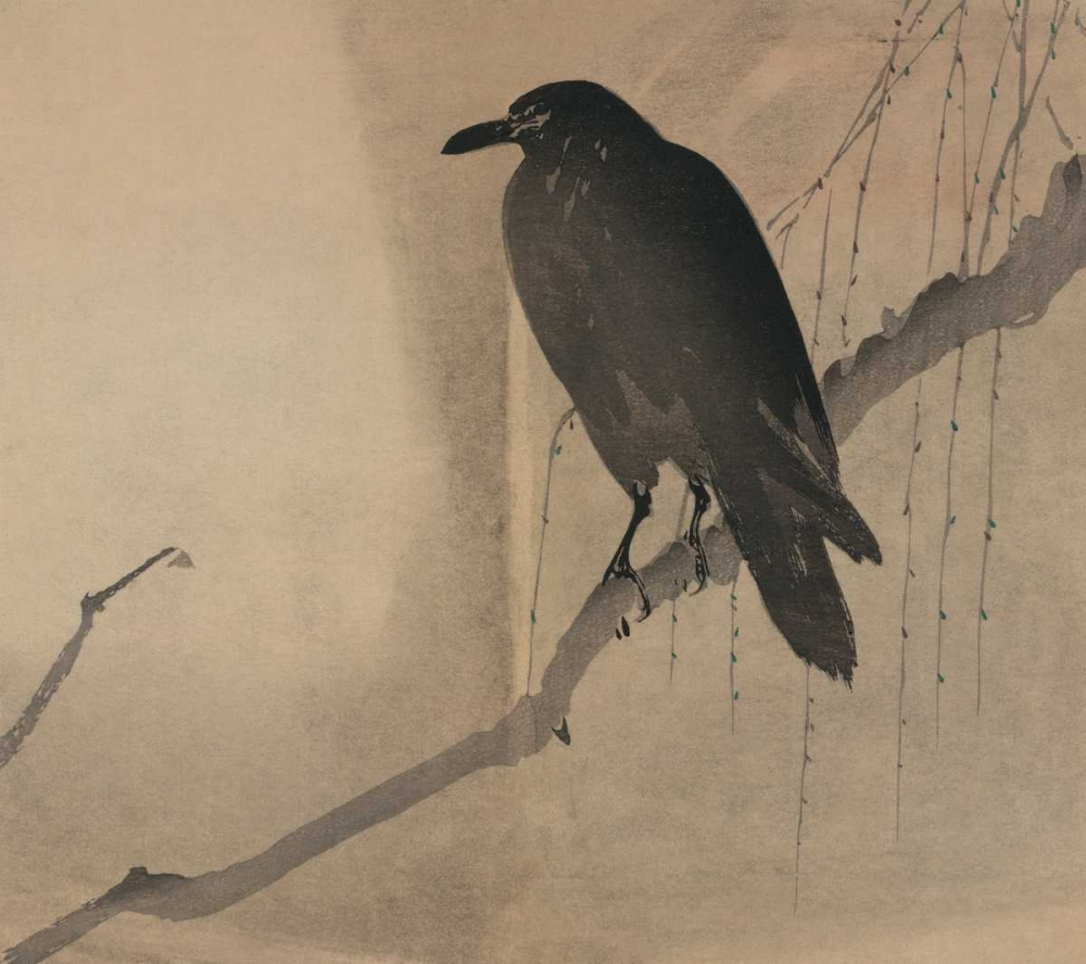 Crow on a willow branch, 1875 Unknown 96580