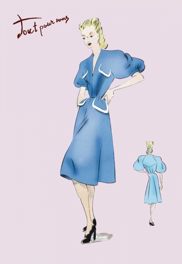 Casual Blue Dress, 1947 Unknown 93951