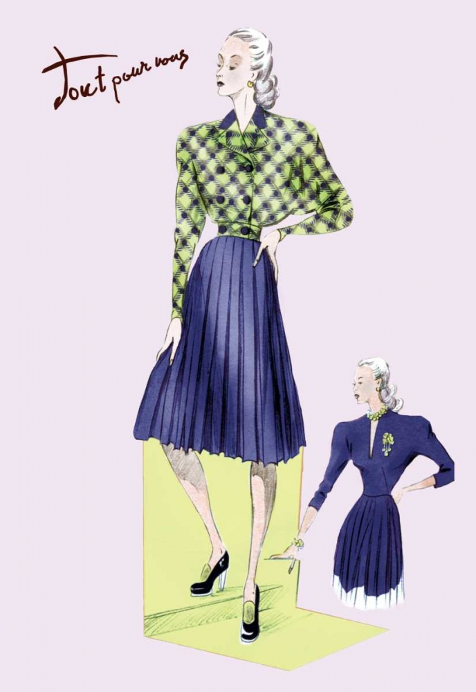 Pleated Dress with Plaid Jacket, 1947 Unknown 93961