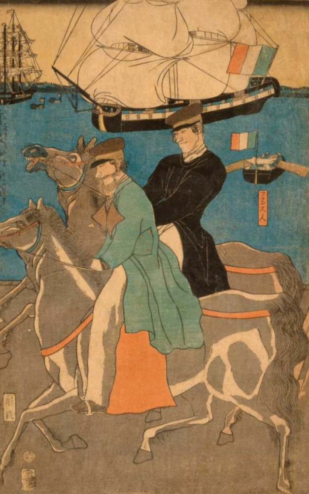 French men taking horse ride on Sunday in Yokohama (Yokohama kyujitsu Furansujin uma yuko), 1861 Utagawa, Sadahide 96548