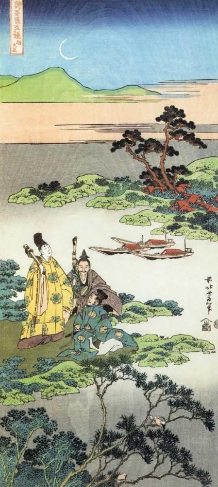 Three Noblemen By A Lake Hokusai 92542