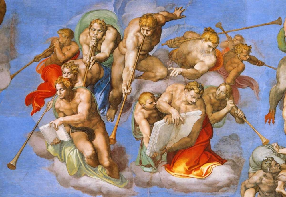 Detail From The Last Judgement - Trumpeting Angels Michelangelo 92694