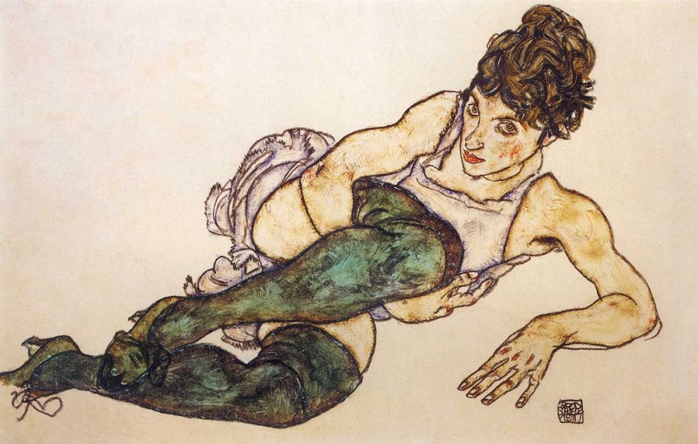Reclining Woman With Green Stockings Schiele, Egon 92903