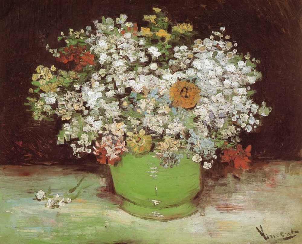 Vase Zinnias And Other Flowers Van Gogh, Vincent 92970