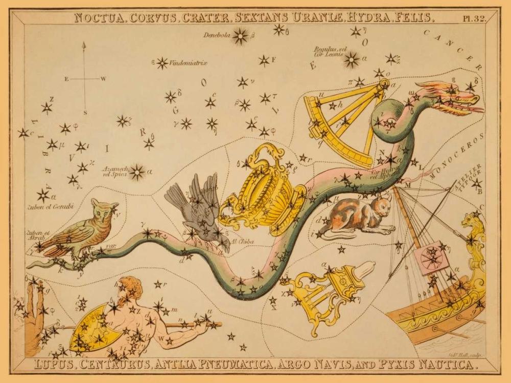 Noctua, Corvus, Crater, Sextans Uraniae, Hydra, Felis, Lupus, Centaurus, Antlia Pneumatica, Argo Nav Aspin, Jehoshaphat 96305