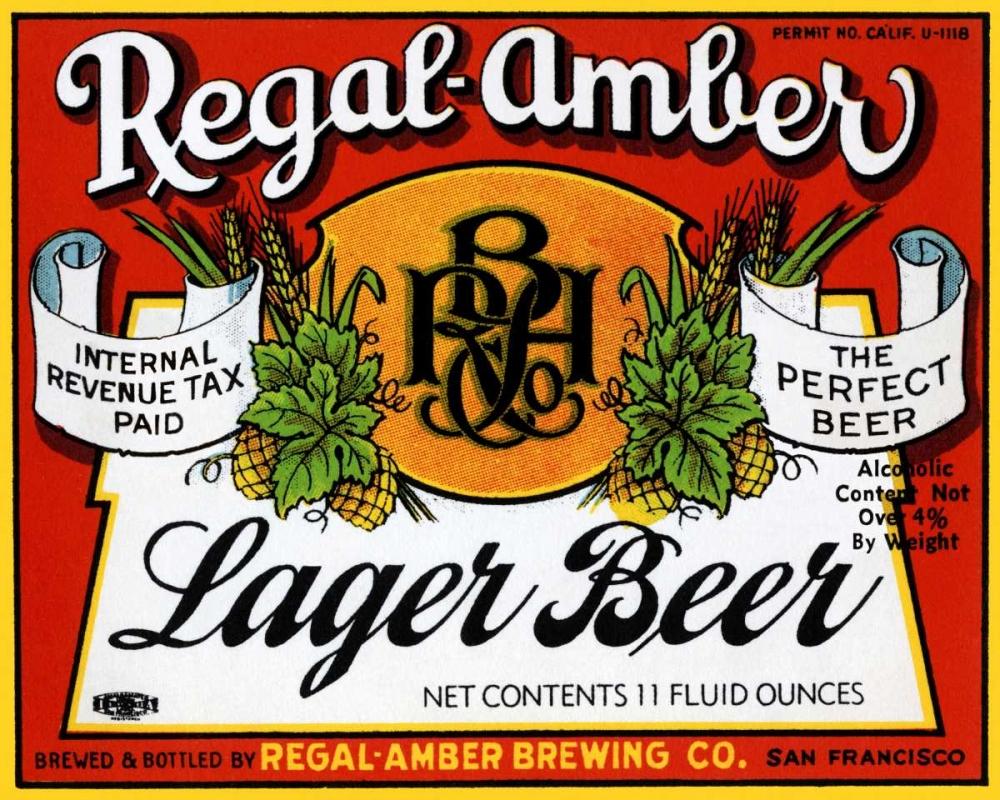 Regal-Amber Lager Beer Vintage Booze Labels 96783