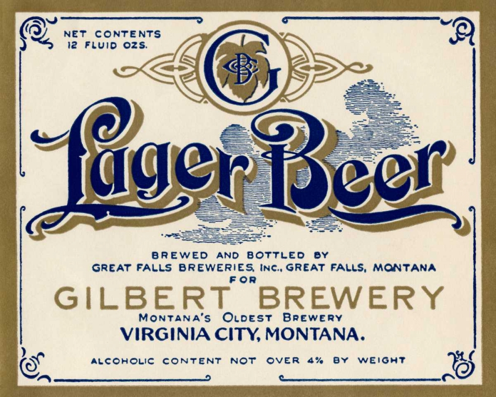 Gilbert Brewery Lager Beer Vintage Booze Labels 96786