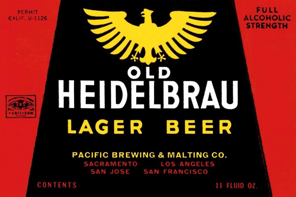 Old Heidelbrau Lager Beer Vintage Booze Labels 96794