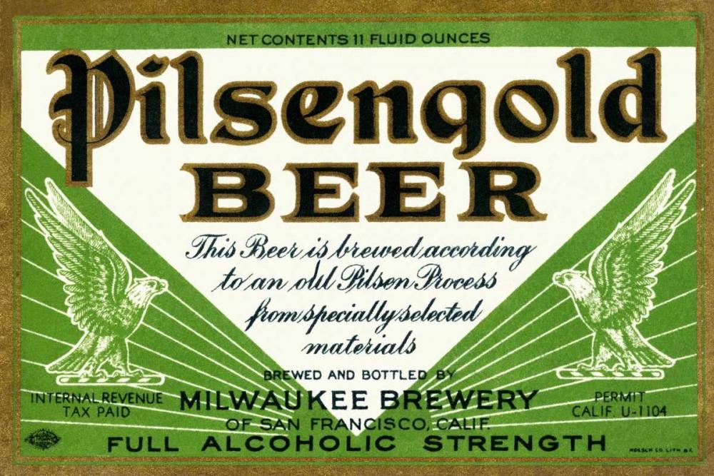 Pilsengold Beer Vintage Booze Labels 96801