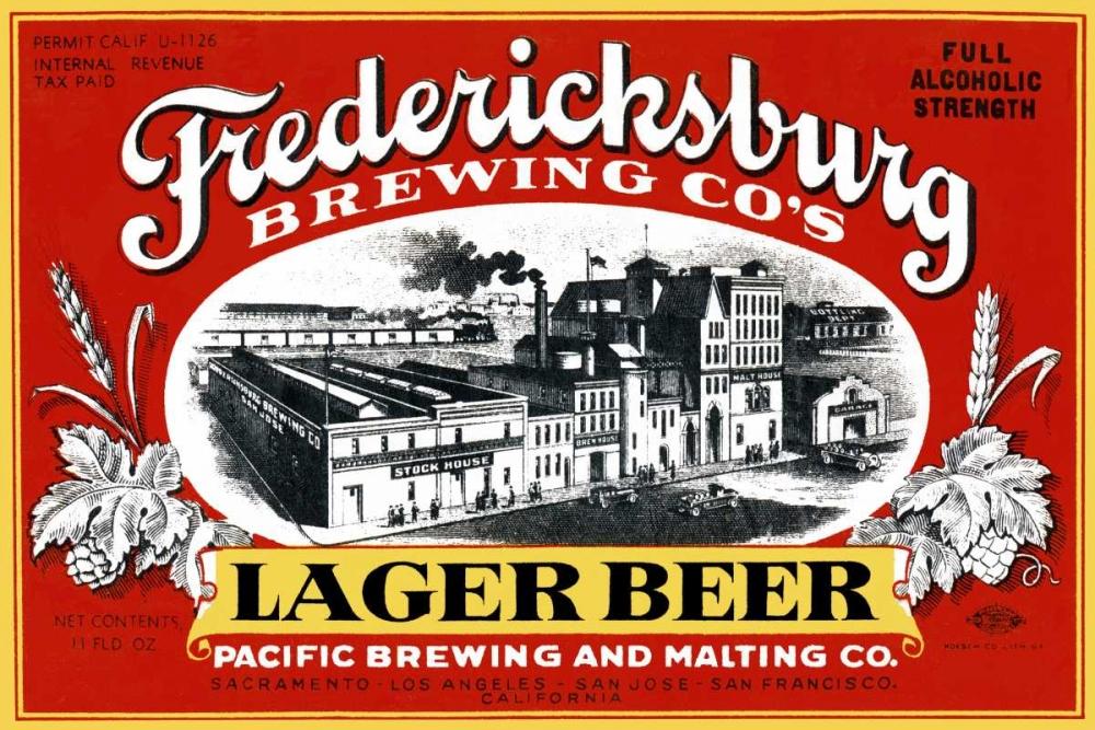 Fredericksburg Brewing Co.s Lager Beer Vintage Booze Labels 96803