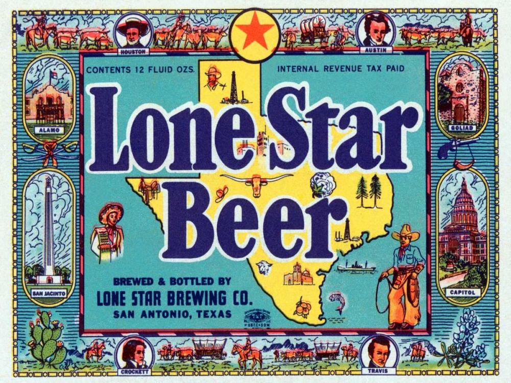 Lone Star Beer Vintage Booze Labels 96814
