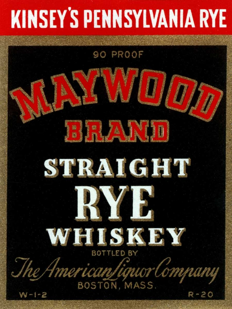 Maywood Brand Straight Rye Whiskey Vintage Booze Labels 96821