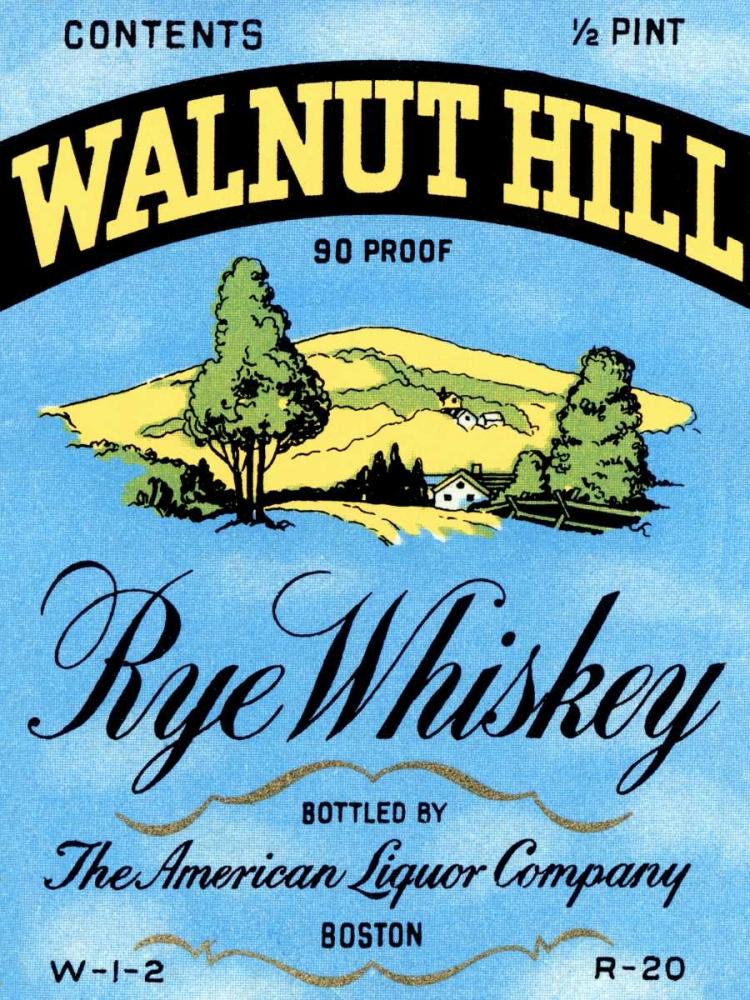 Walnut Hill Rye Whiskey Vintage Booze Labels 96823