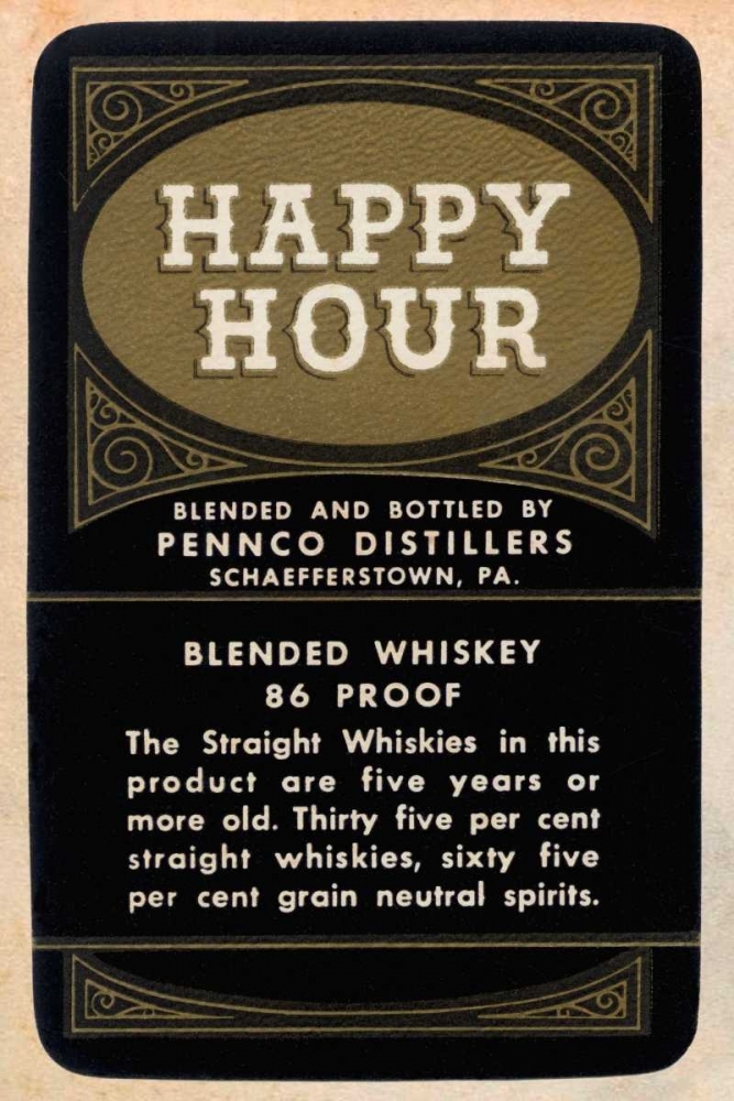 Happy Hour Blended Whiskey Vintage Booze Labels 96826