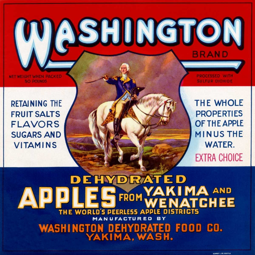 Washington Brand Dehydrated Apples Retrolabel 96514